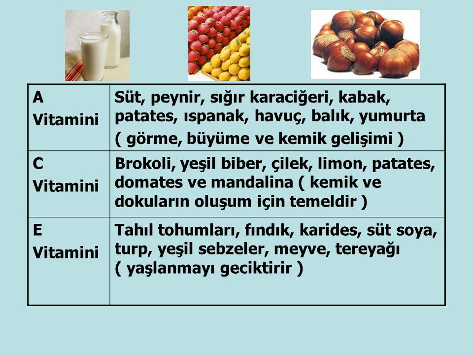 A Vitamini. Süt, peynir, sığır karaciğeri, kabak, patates, ıspanak, havuç, balık, yumurta. ( görme, büyüme ve kemik gelişimi )