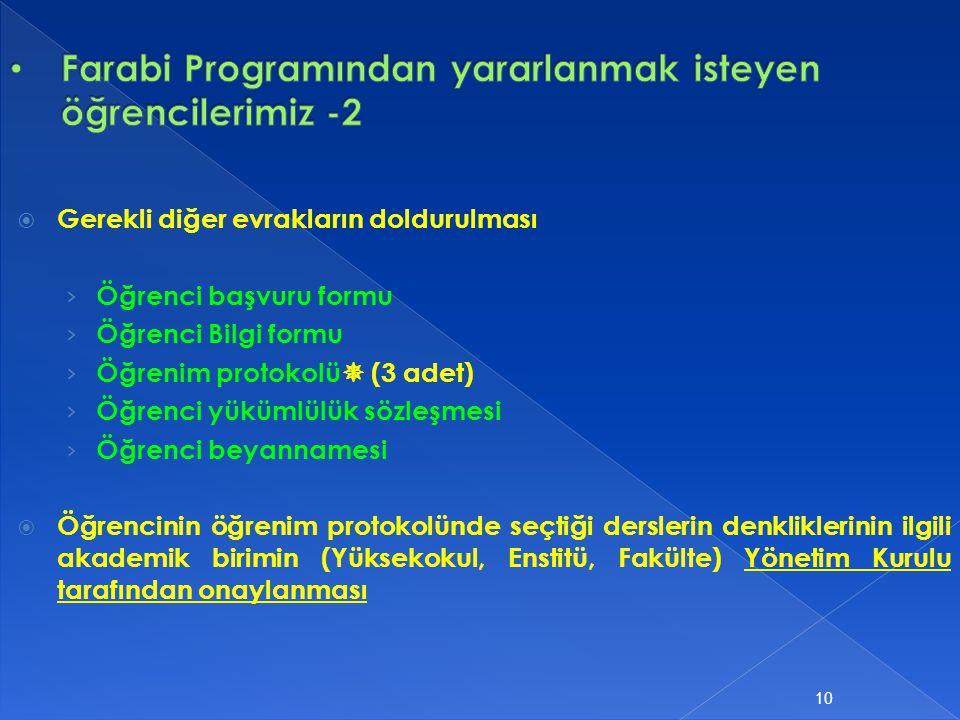 Farabi Programından yararlanmak isteyen öğrencilerimiz -2