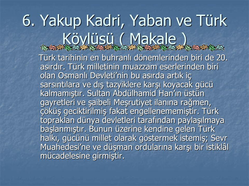 6. Yakup Kadri, Yaban ve Türk Köylüsü ( Makale )
