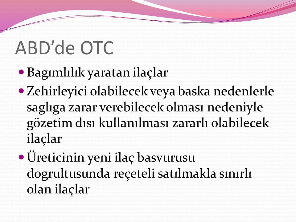 ABD'de OTC Bagımlılık yaratan ilaçlar