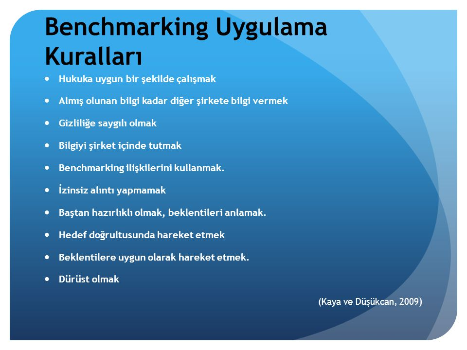 Benchmarking Uygulama Kuralları