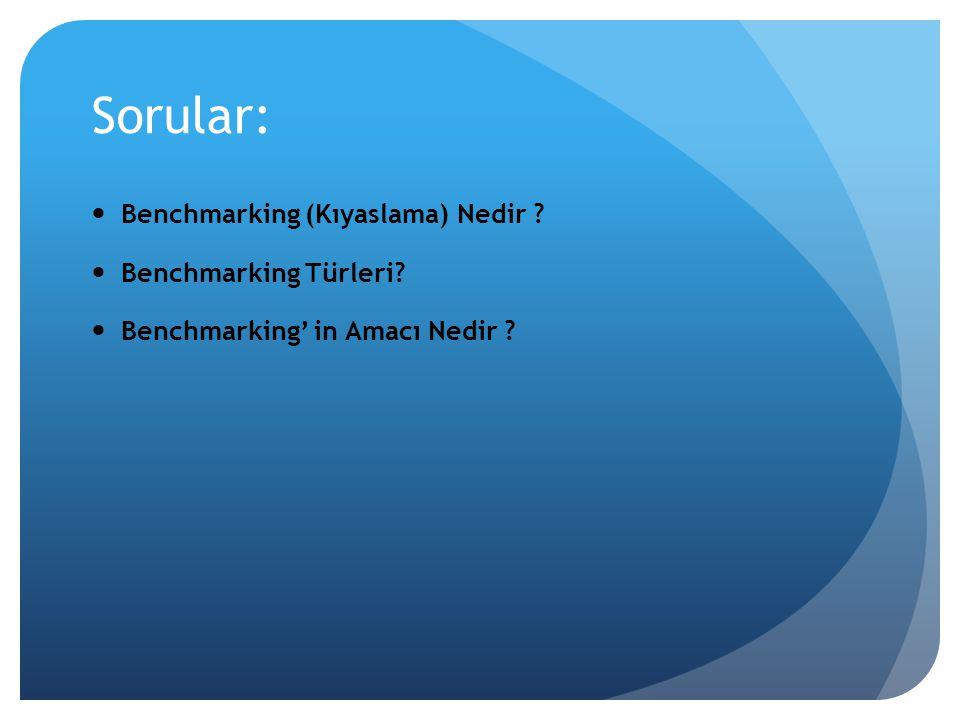 Sorular: Benchmarking (Kıyaslama) Nedir Benchmarking Türleri