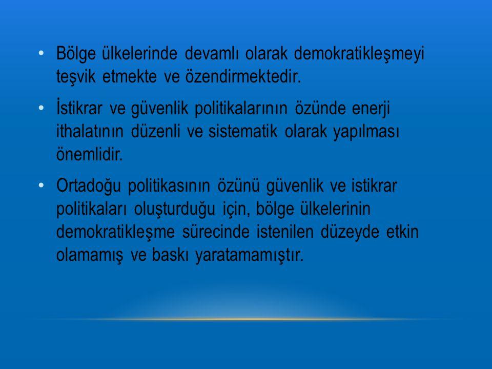 Bölge ülkelerinde devamlı olarak demokratikleşmeyi teşvik etmekte ve özendirmektedir.