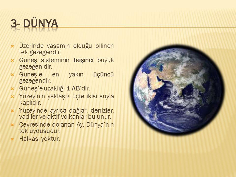 3- DÜNYA Üzerinde yaşamın olduğu bilinen tek gezegendir.