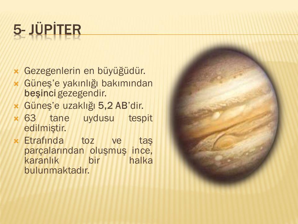 5- JÜPİTER Gezegenlerin en büyüğüdür.