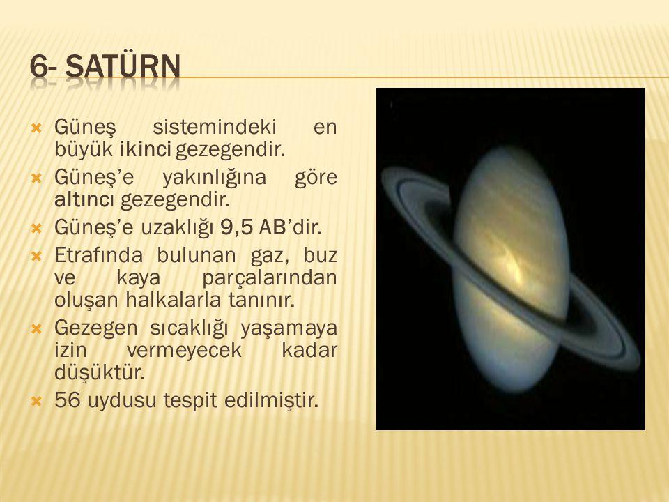 6- SATÜRN Güneş sistemindeki en büyük ikinci gezegendir.