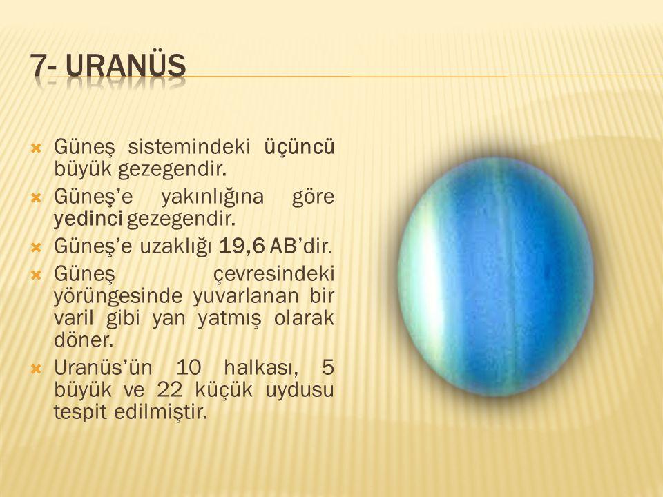 7- URANÜS Güneş sistemindeki üçüncü büyük gezegendir.