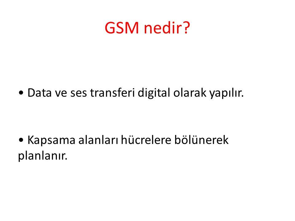 GSM nedir. • Data ve ses transferi digital olarak yapılır.