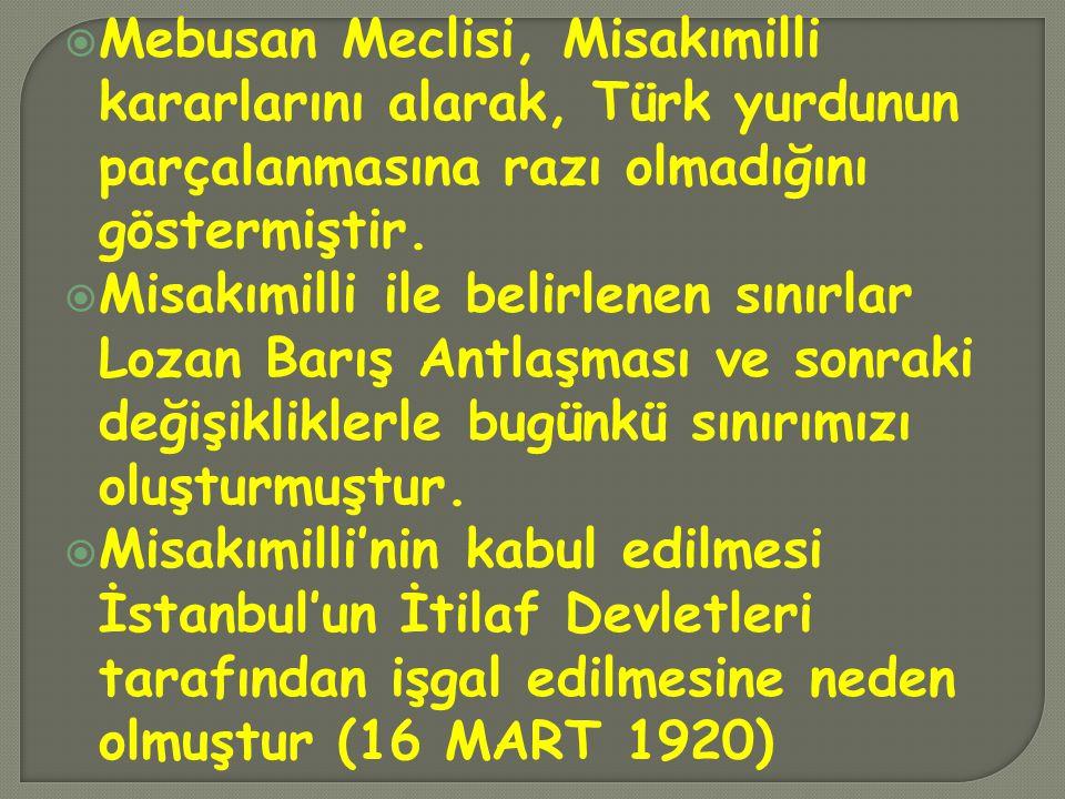 Mebusan Meclisi, Misakımilli kararlarını alarak, Türk yurdunun parçalanmasına razı olmadığını göstermiştir.