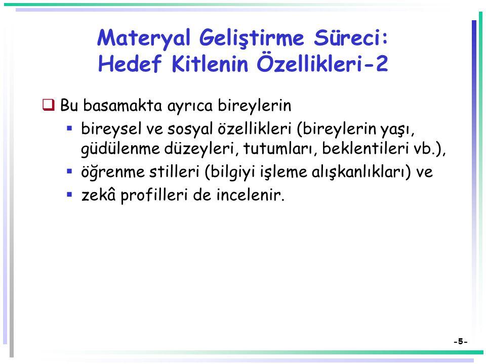 Materyal Geliştirme Süreci: Hedef Kitlenin Özellikleri-2