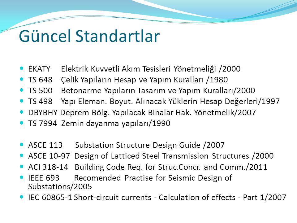 Güncel Standartlar EKATY Elektrik Kuvvetli Akım Tesisleri Yönetmeliği /2000. TS 648 Çelik Yapıların Hesap ve Yapım Kuralları /1980.