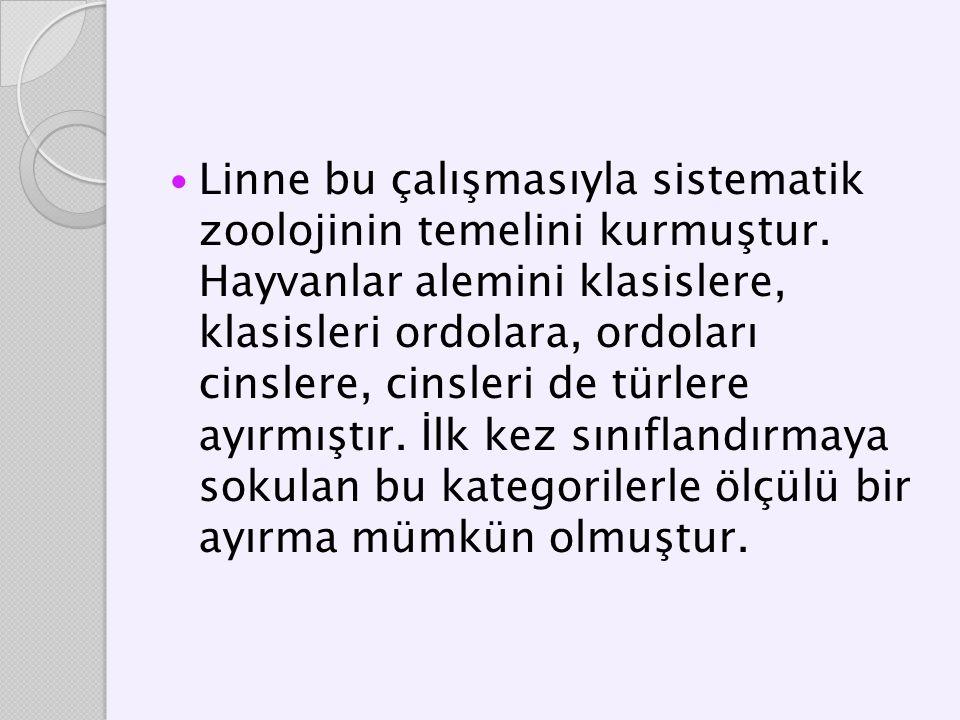 Linne bu çalışmasıyla sistematik zoolojinin temelini kurmuştur