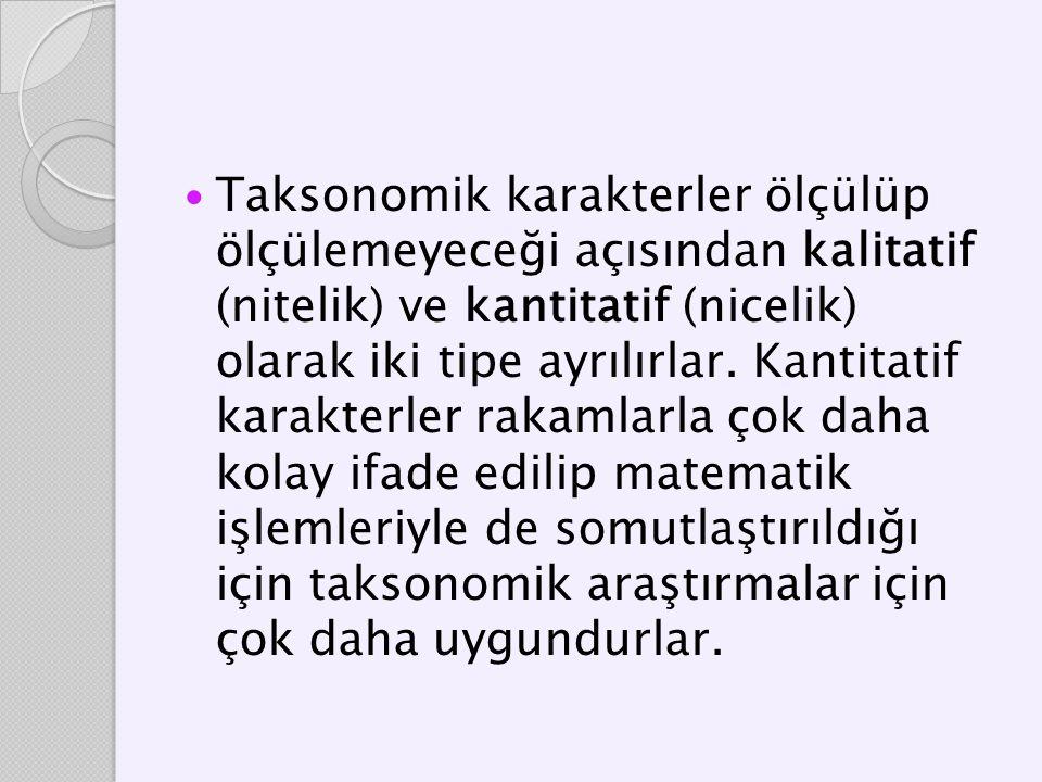 Taksonomik karakterler ölçülüp ölçülemeyeceği açısından kalitatif (nitelik) ve kantitatif (nicelik) olarak iki tipe ayrılırlar.