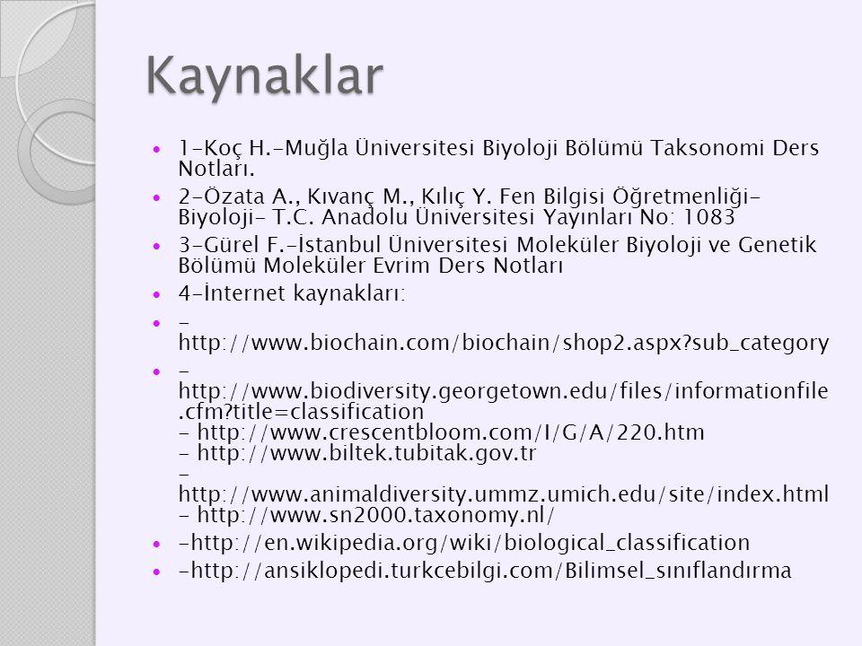 Kaynaklar 1-Koç H.-Muğla Üniversitesi Biyoloji Bölümü Taksonomi Ders Notları.