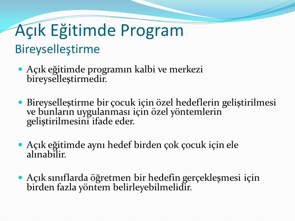 Açık Eğitimde Program Bireyselleştirme