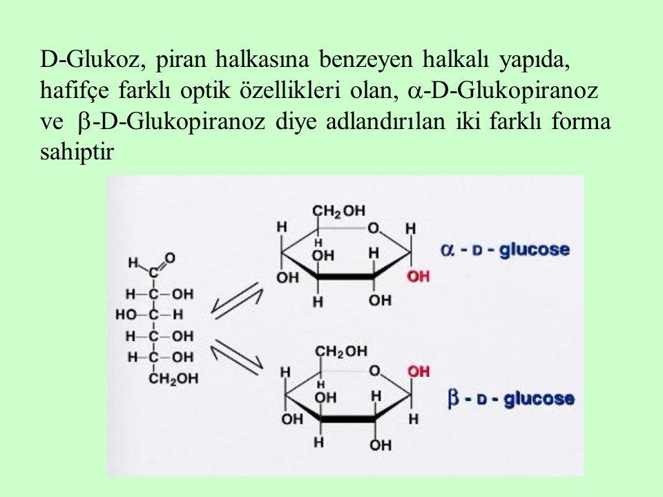 D-Glukoz, piran halkasına benzeyen halkalı yapıda, hafifçe farklı optik özellikleri olan, -D-Glukopiranoz ve -D-Glukopiranoz diye adlandırılan iki farklı forma sahiptir