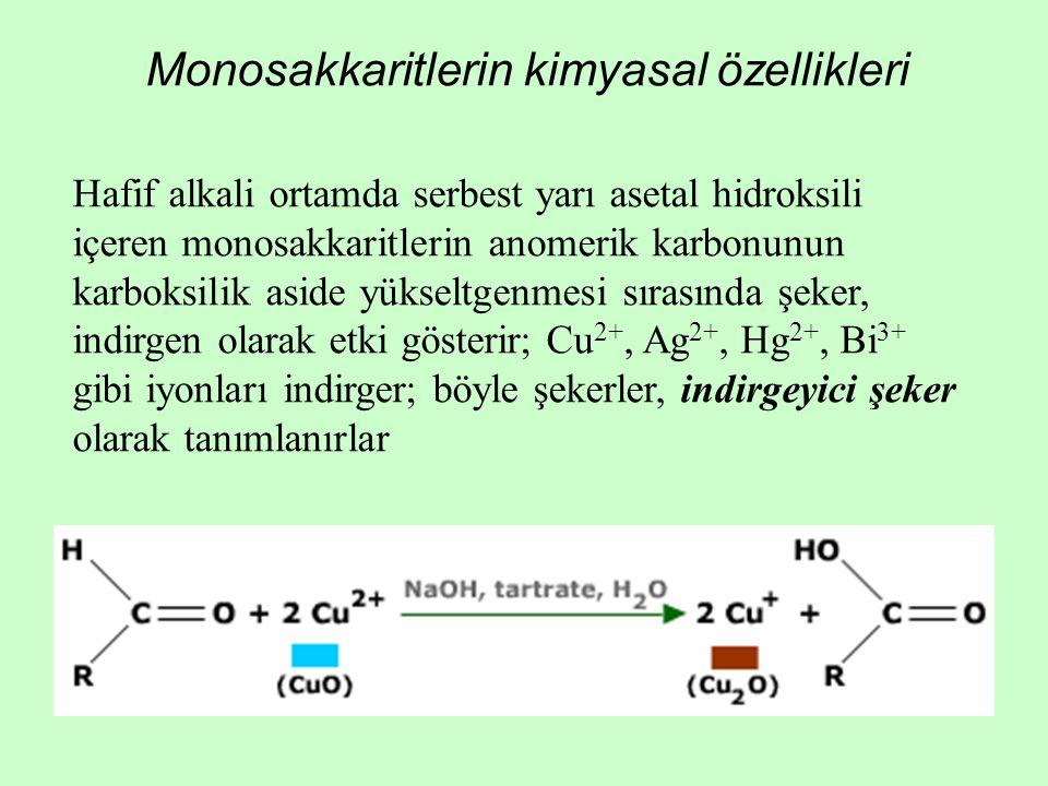 Monosakkaritlerin kimyasal özellikleri