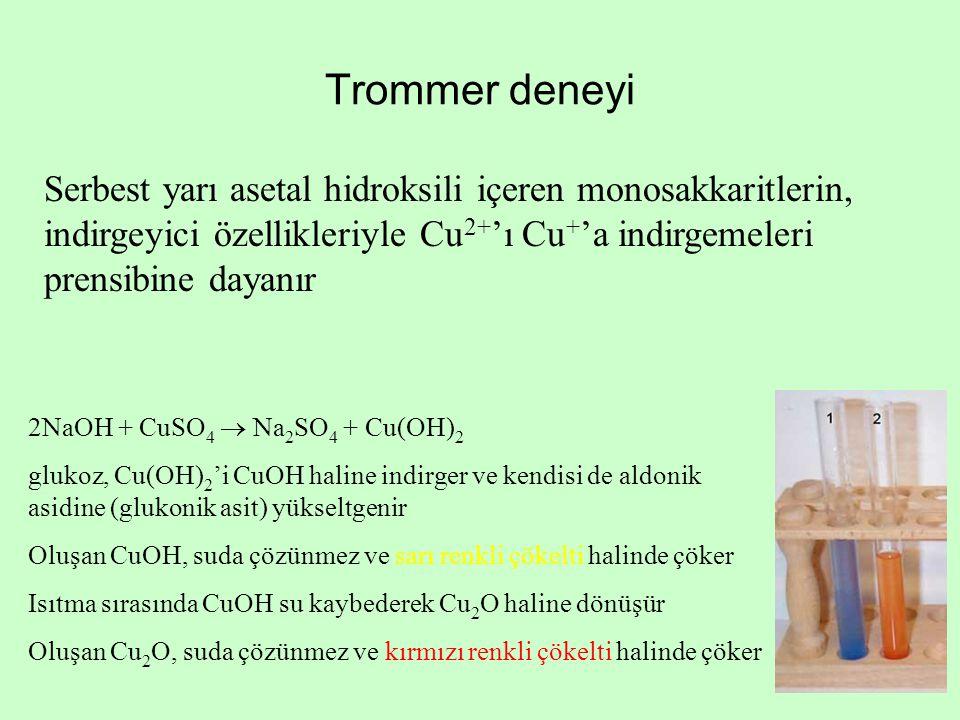 Trommer deneyi Serbest yarı asetal hidroksili içeren monosakkaritlerin, indirgeyici özellikleriyle Cu2+'ı Cu+'a indirgemeleri prensibine dayanır.