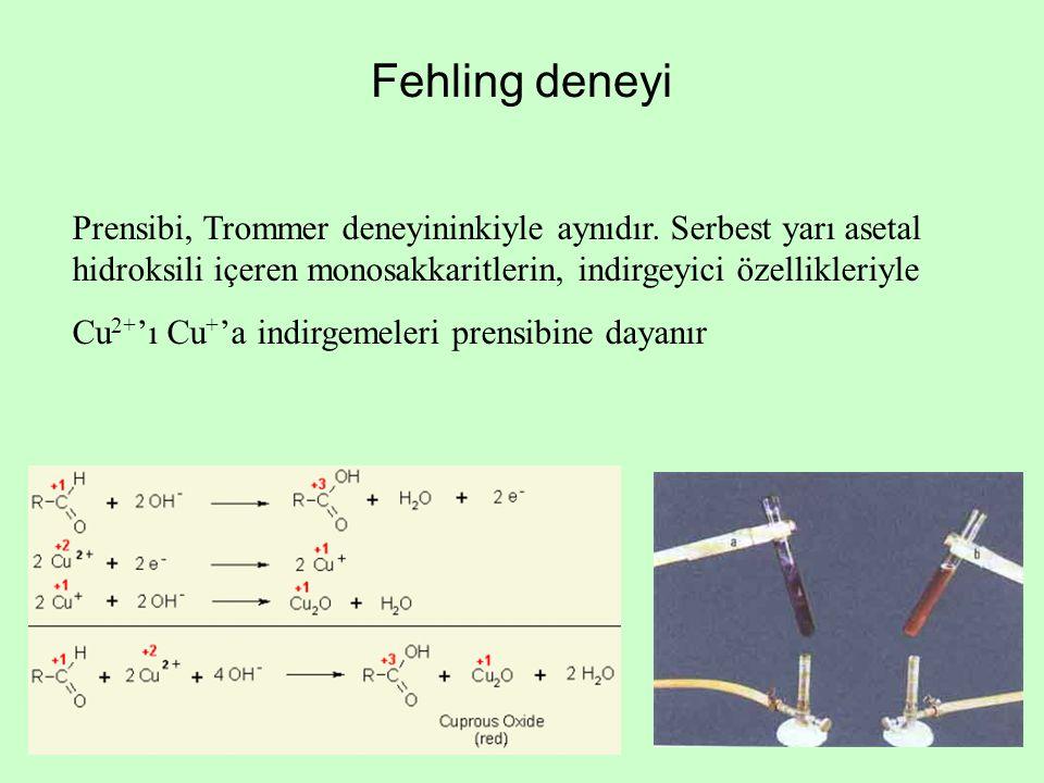 Fehling deneyi Prensibi, Trommer deneyininkiyle aynıdır. Serbest yarı asetal hidroksili içeren monosakkaritlerin, indirgeyici özellikleriyle.