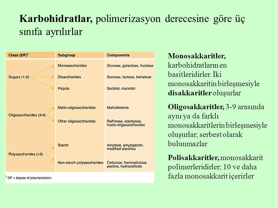 Karbohidratlar, polimerizasyon derecesine göre üç sınıfa ayrılırlar