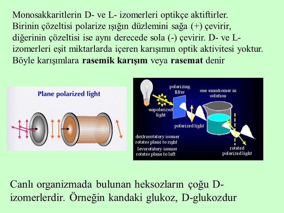 Monosakkaritlerin D- ve L- izomerleri optikçe aktiftirler.