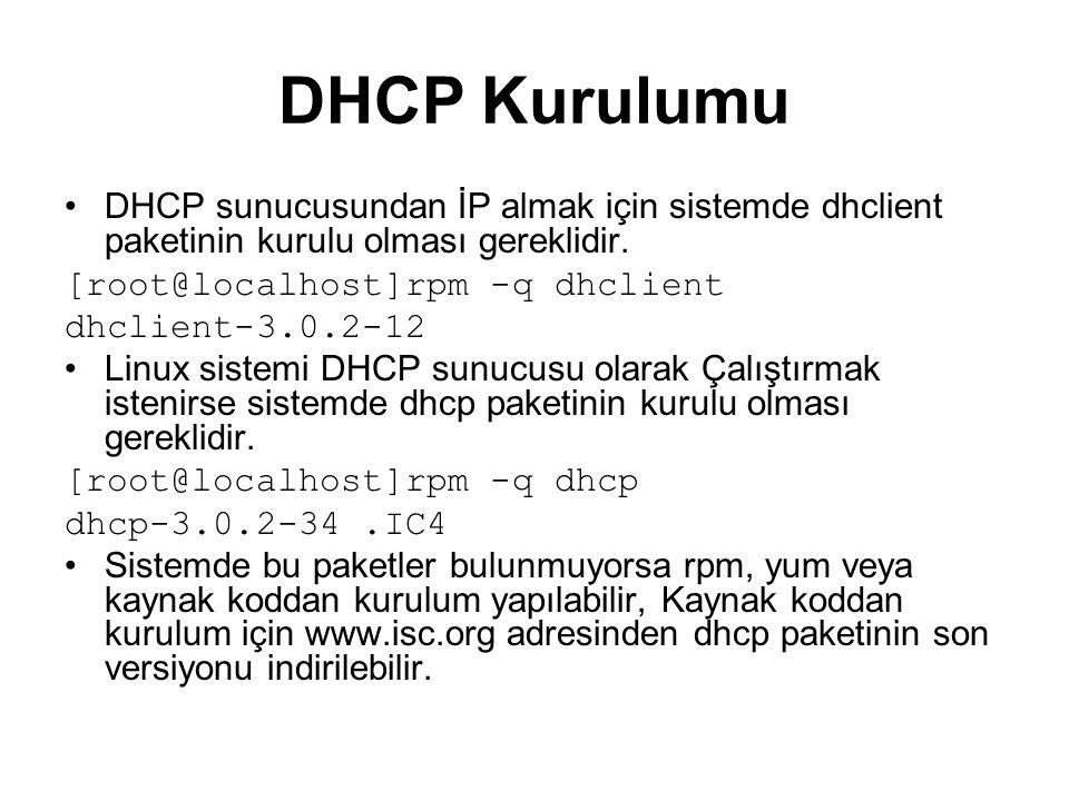 DHCP Kurulumu DHCP sunucusundan İP almak için sistemde dhclient paketinin kurulu olması gereklidir.