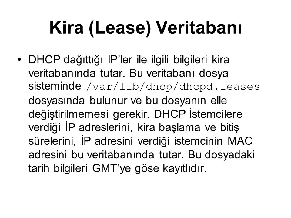Kira (Lease) Veritabanı
