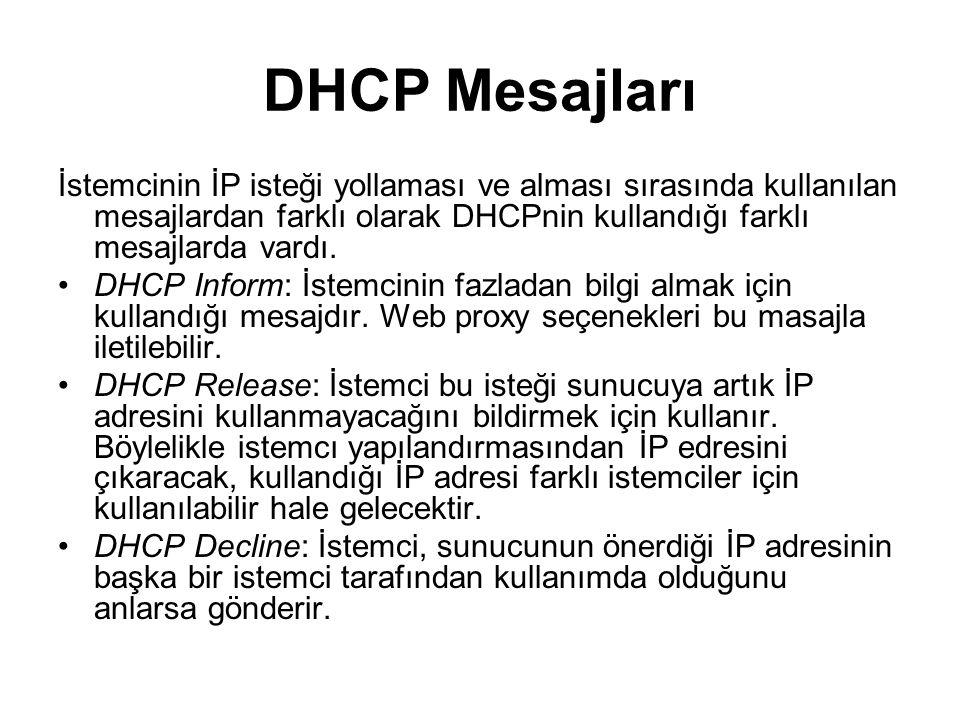 DHCP Mesajları İstemcinin İP isteği yollaması ve alması sırasında kullanılan mesajlardan farklı olarak DHCPnin kullandığı farklı mesajlarda vardı.