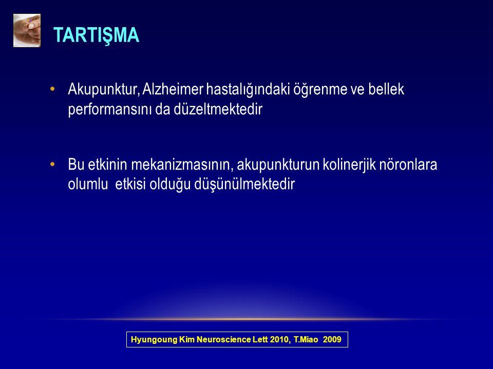 TARTIŞMA Akupunktur, Alzheimer hastalığındaki öğrenme ve bellek performansını da düzeltmektedir.