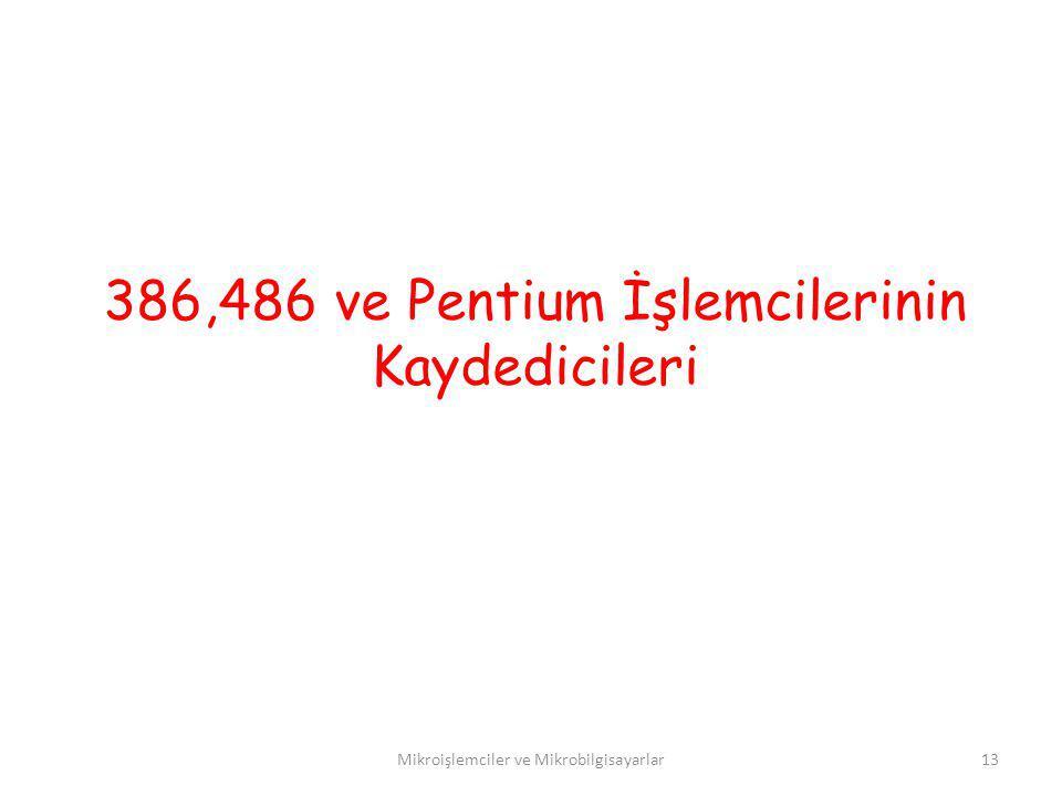 386,486 ve Pentium İşlemcilerinin Kaydedicileri