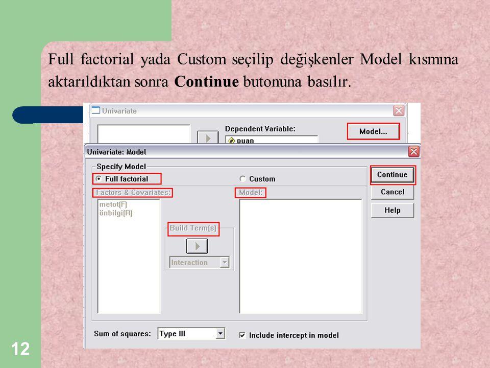 Full factorial yada Custom seçilip değişkenler Model kısmına aktarıldıktan sonra Continue butonuna basılır.