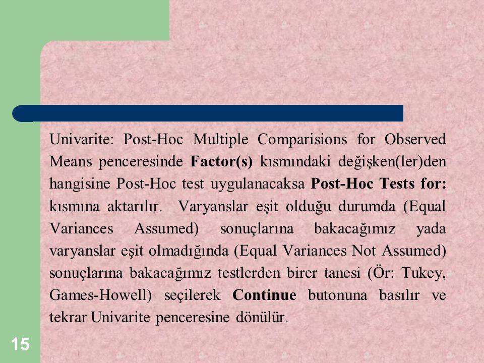 Univarite: Post-Hoc Multiple Comparisions for Observed Means penceresinde Factor(s) kısmındaki değişken(ler)den hangisine Post-Hoc test uygulanacaksa Post-Hoc Tests for: kısmına aktarılır.