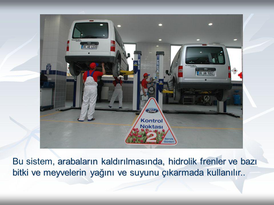Bu sistem, arabaların kaldırılmasında, hidrolik frenler ve bazı bitki ve meyvelerin yağını ve suyunu çıkarmada kullanılır..