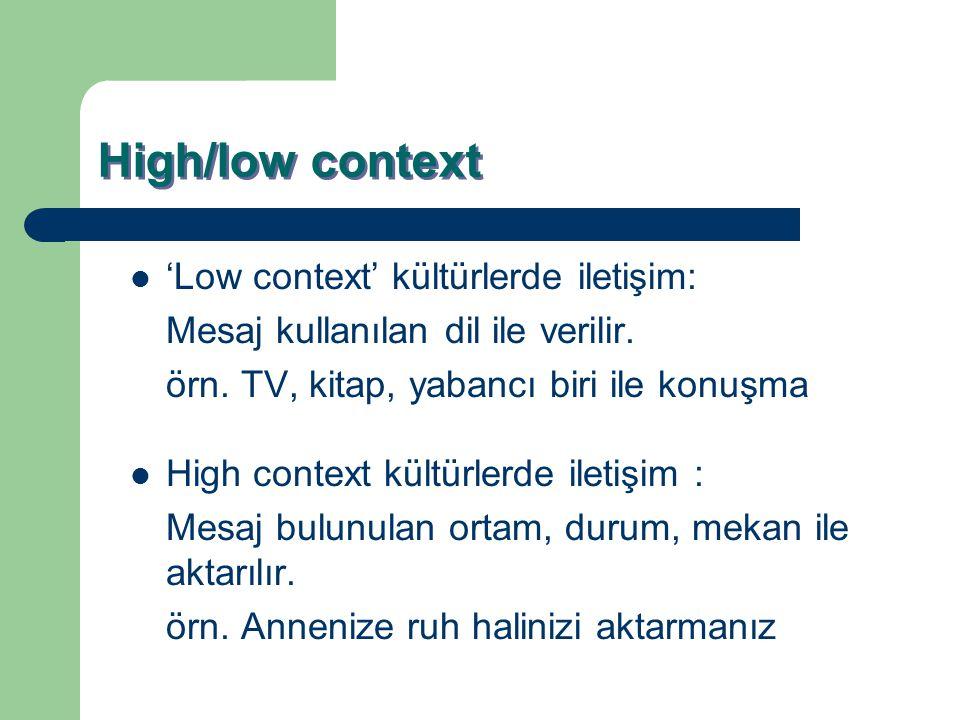 High/low context 'Low context' kültürlerde iletişim:
