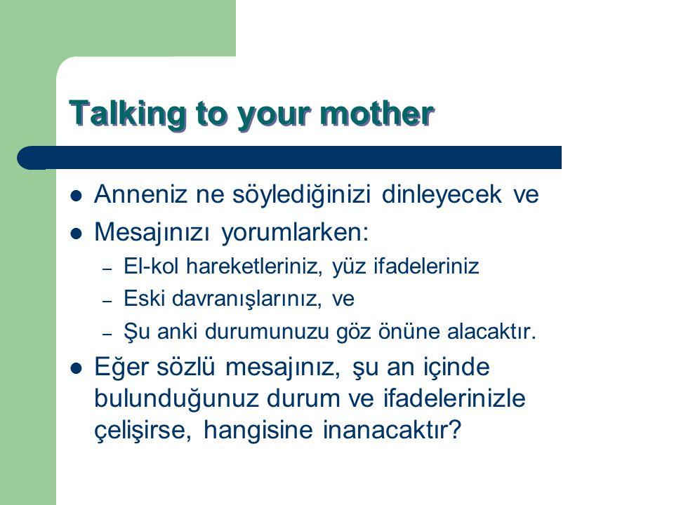 Talking to your mother Anneniz ne söylediğinizi dinleyecek ve