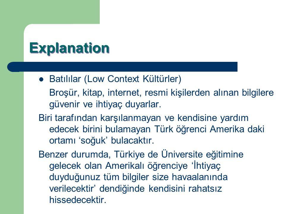 Explanation Batılılar (Low Context Kültürler)