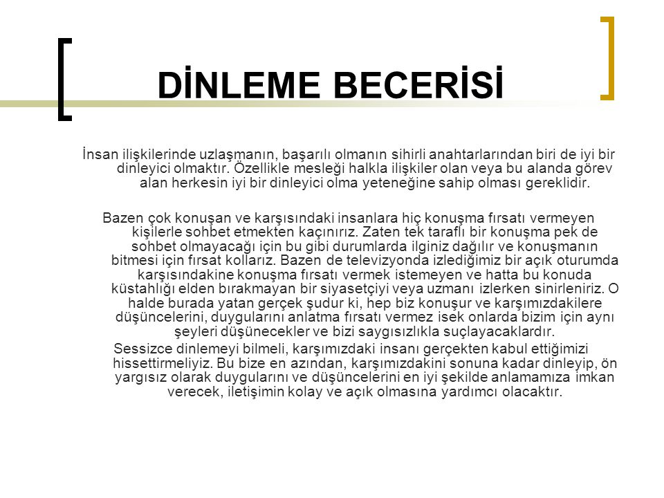 DİNLEME BECERİSİ