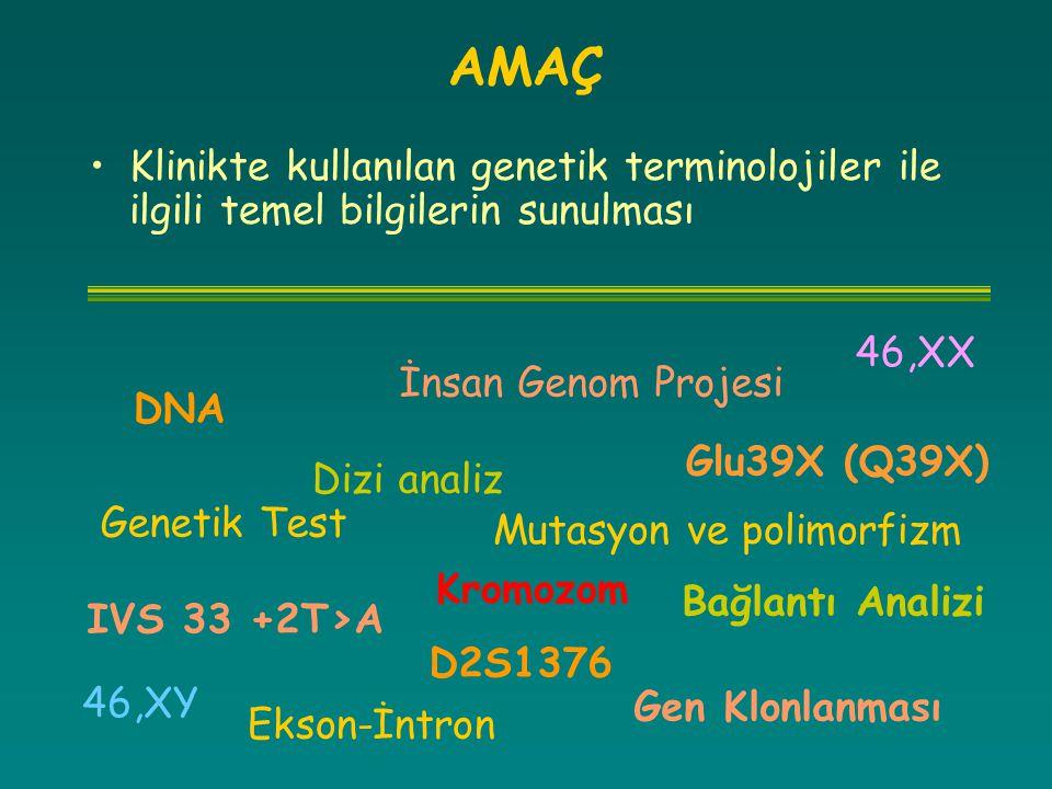 AMAÇ Klinikte kullanılan genetik terminolojiler ile ilgili temel bilgilerin sunulması. 46,XX. Mutasyon ve polimorfizm.
