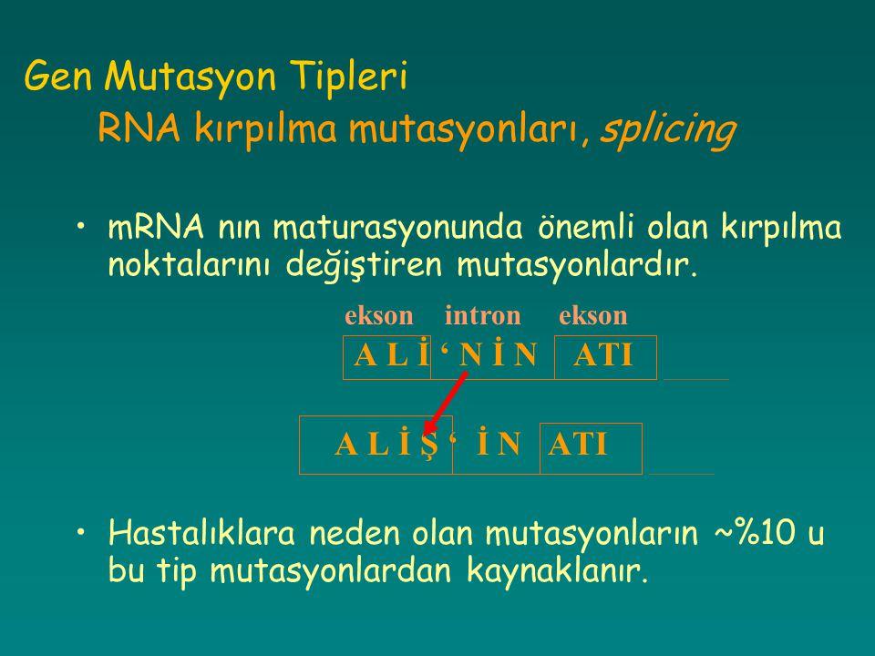 Gen Mutasyon Tipleri RNA kırpılma mutasyonları, splicing