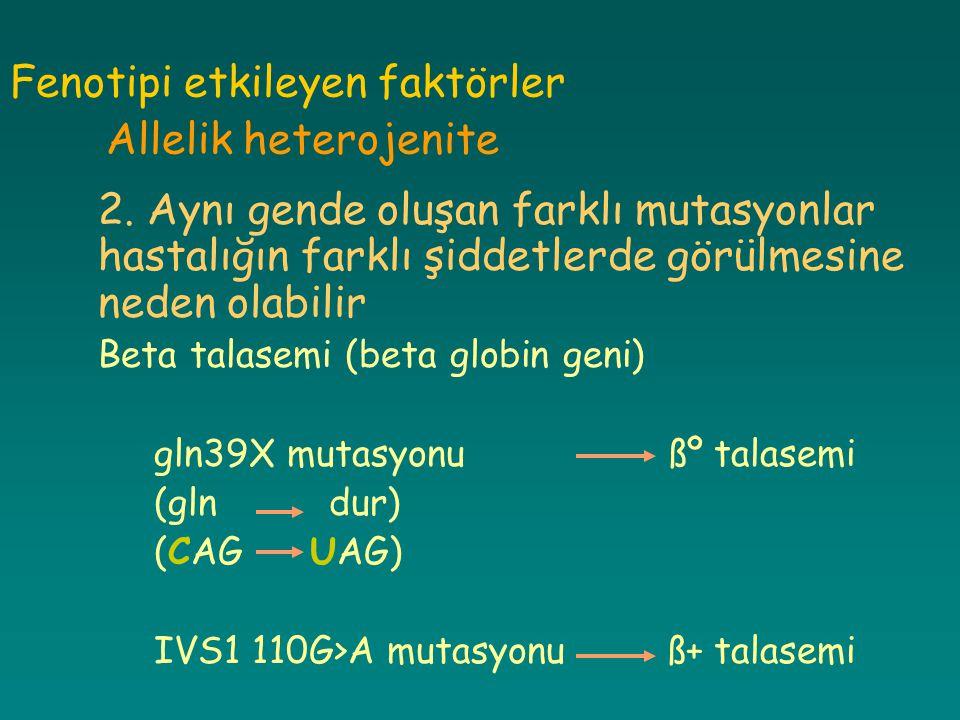 Fenotipi etkileyen faktörler Allelik heterojenite