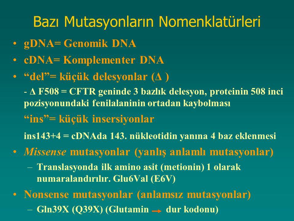 Bazı Mutasyonların Nomenklatürleri