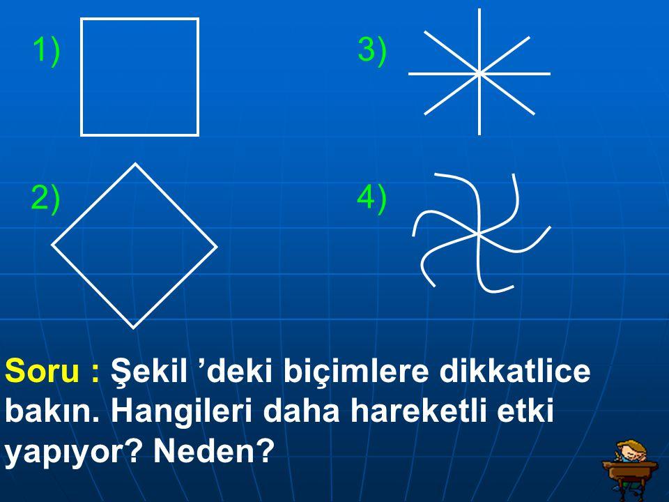 1) 3) 2) 4) Soru : Şekil 'deki biçimlere dikkatlice bakın.