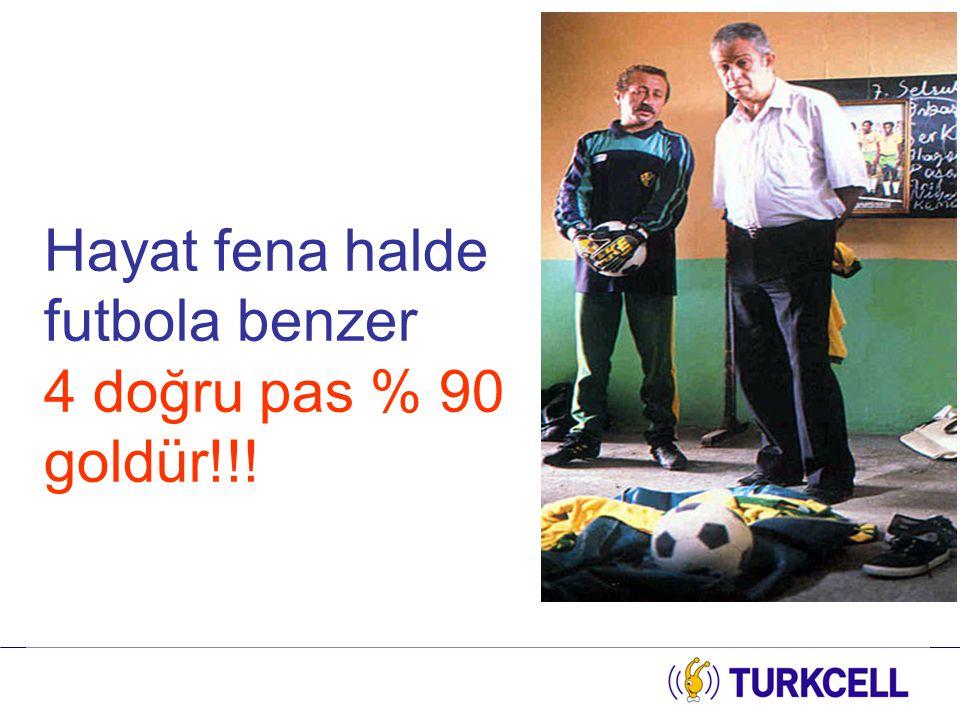 Hayat fena halde futbola benzer 4 doğru pas % 90 goldür!!!