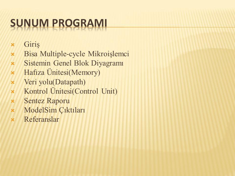 Sunum ProgramI Giriş Bisa Multiple-cycle Mikroişlemci