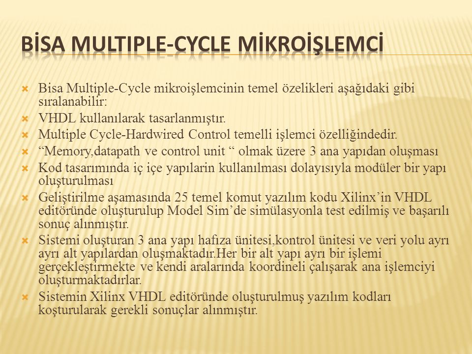 Bİsa Multiple-cycle Mİkroİşlemcİ