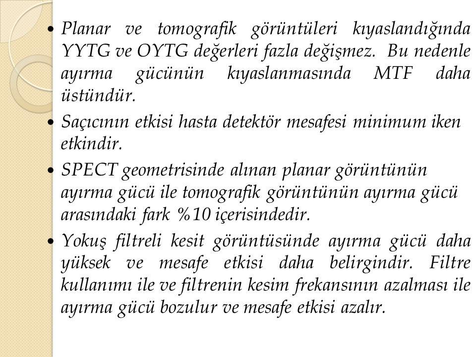 Planar ve tomografik görüntüleri kıyaslandığında YYTG ve OYTG değerleri fazla değişmez. Bu nedenle ayırma gücünün kıyaslanmasında MTF daha üstündür.