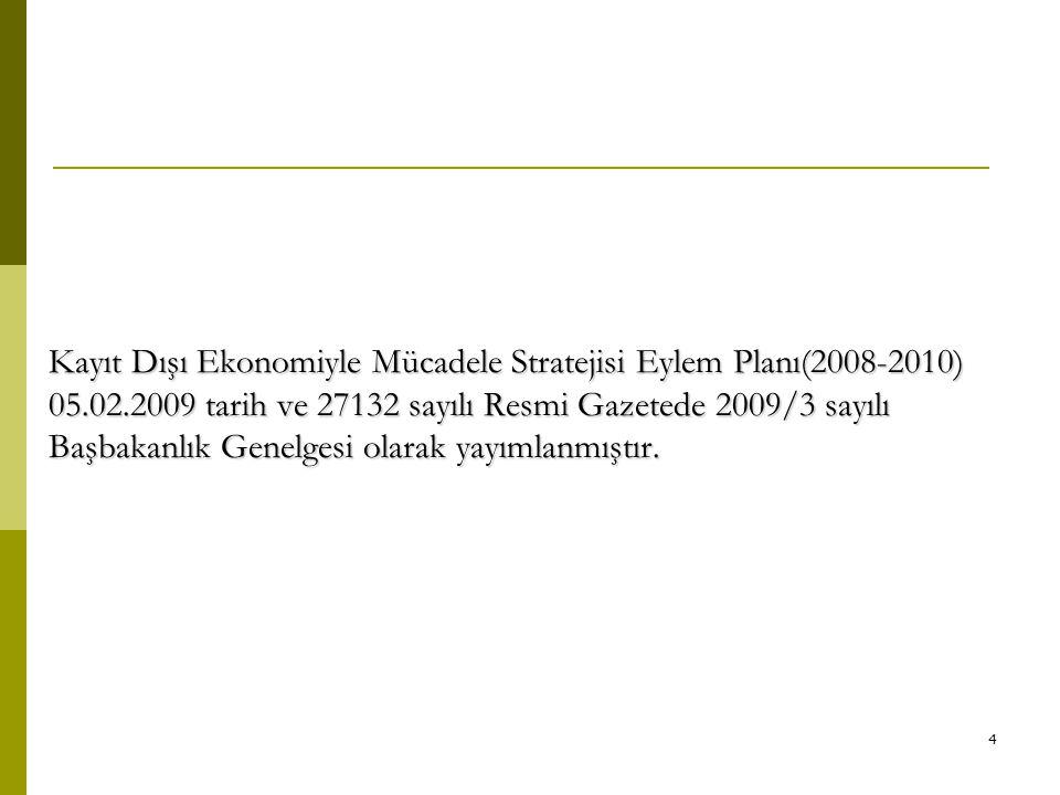 Kayıt Dışı Ekonomiyle Mücadele Stratejisi Eylem Planı(2008-2010) 05.02.2009 tarih ve 27132 sayılı Resmi Gazetede 2009/3 sayılı Başbakanlık Genelgesi olarak yayımlanmıştır.
