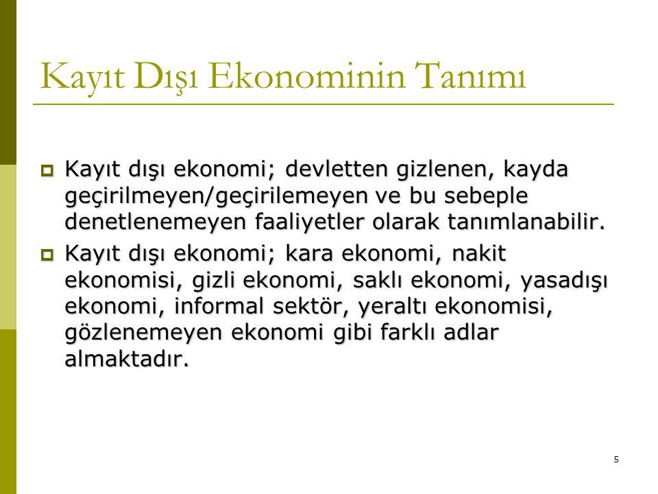 Kayıt Dışı Ekonominin Tanımı