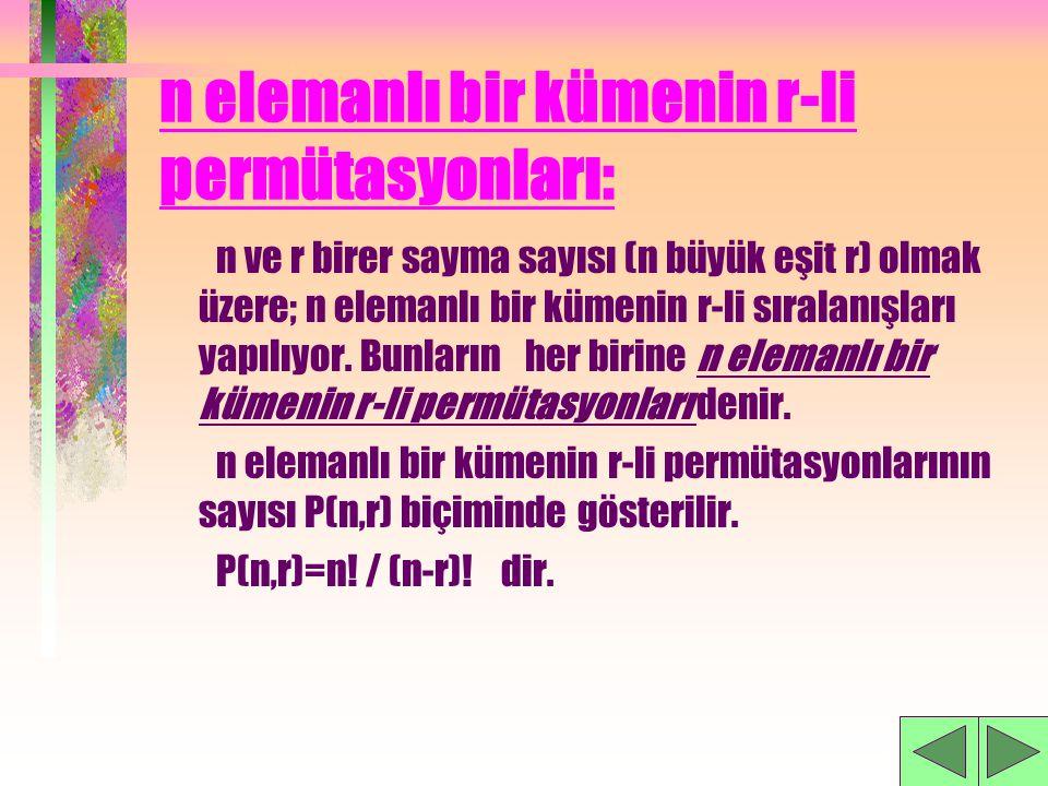 n elemanlı bir kümenin r-li permütasyonları: