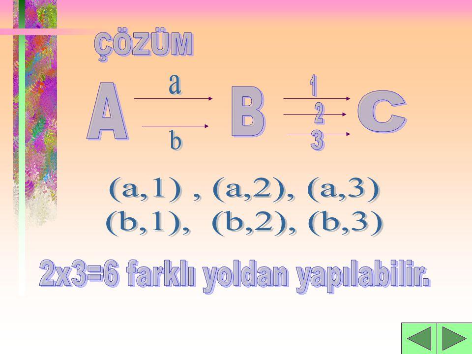 2x3=6 farklı yoldan yapılabilir.